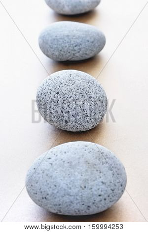 Stones in row, elevated view, selective focus