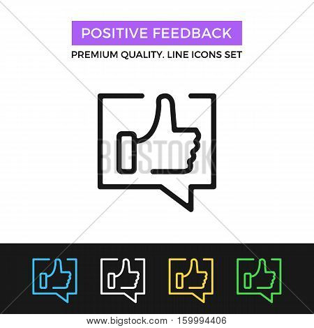 Vector positive feedback icon. Testimonials, review concept. Premium quality graphic design. Modern signs, outline symbols, simple thin line icons set for website, web design, mobile app, infographics