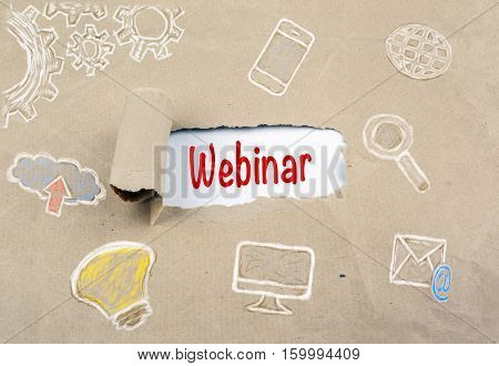 Inscription revealed on old paper - Webinar, Web Webcast Technology Collaborative Concept