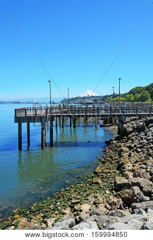 Tacoma summer. View of the pier.  Washington State. Public Park.