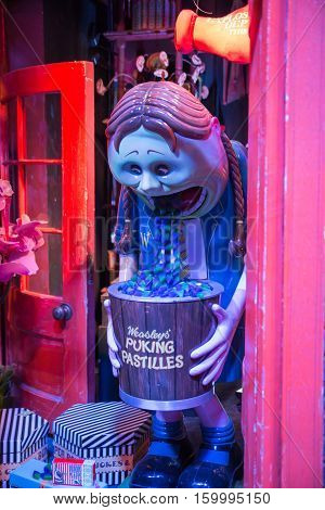 Leavesden, London, UK - 1 March 2016: Candy Shop   display in Diagon Alley from Harry Potter film. Warner Brothers Studio