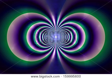 Abstract Concentric Lines On Black Background. Fantasy Symmetrical Fractal Texture. 3D Rendering.