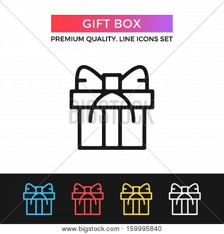 Vector gift box icon. Christmas gift concept. Premium quality graphic design. Modern signs, outline symbols collection, simple thin line icons set for websites, web design, mobile app, infographics
