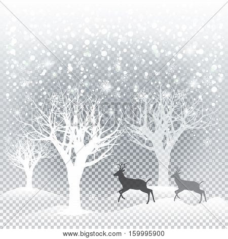 Winter forest with falling snowflakes, reindeer, trees on a transparent background. For Merry Christmas and Happy New Year greeting cards. Vector illustration.