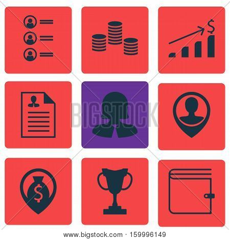 Set Of 9 Human Resources Icons. Can Be Used For Web, Mobile, UI And Infographic Design. Includes Elements Such As Coins, Applicants, Pin And More.