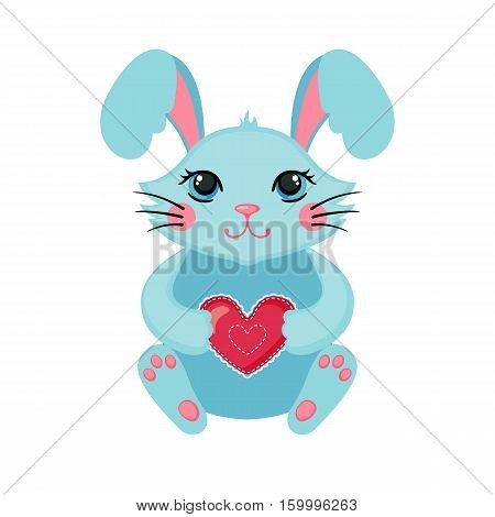 Cute Bunny hugging heart. Love concept. Happy bunny icon in flat style isolated on white background. Design element for Wedding Birthday or Valentines Day. Vector illustration