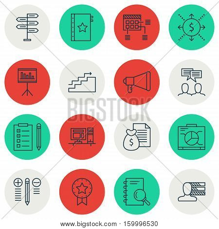 Set Of 16 Project Management Icons. Can Be Used For Web, Mobile, UI And Infographic Design. Includes Elements Such As Presentation, Fork, Announcement And More.