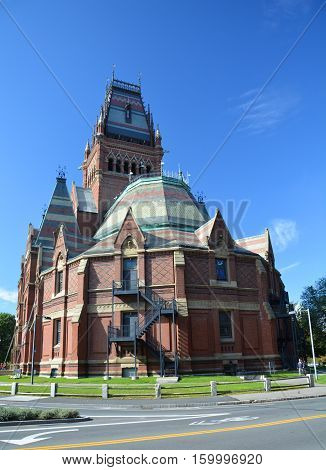 CAMBRIDGE USA - OCTOBER 20 2014: Harvard Memorial Hall. Harvard is the most prestigious and oldest university in United States
