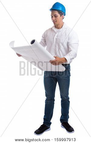 Young Architect Reading Plan Full Body Portrait Occupation Job Isolated