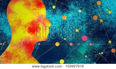 Silhouette of a man's head. Mental health relative brochure, report design. Scientific medical designs. Grunge brush drawing