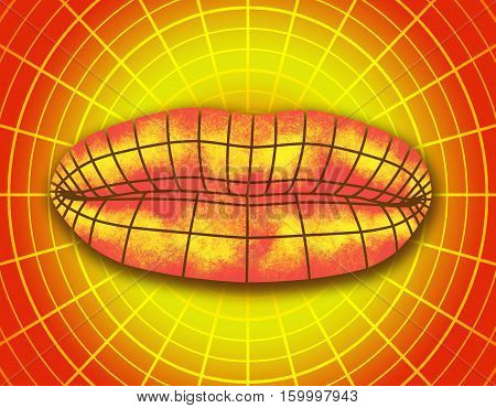 Wire frame polygonal female lips. Radial net. Illustration of a woman lips symbol. Grunge brush drawing