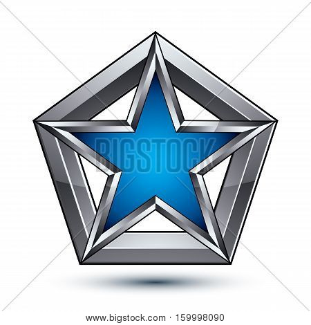 Silvery blazon with pentagonal blue star can be used in web and graphic design. Heraldic silver symbol 3d coat of arms.