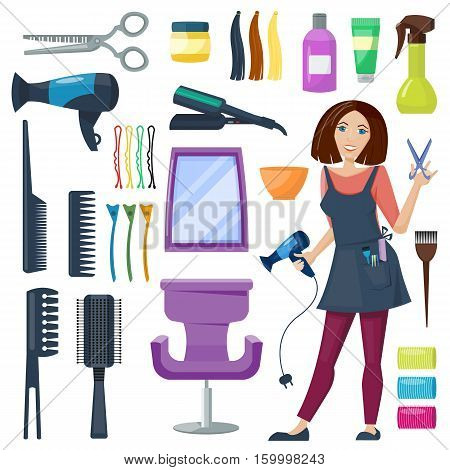 Set of hairdresser and barber equipment. Hairdressing tools. Scissors and Hairdryer, chair and mirror. Comb and curler,   bottle and tube. Vector illustration. Cartoon style.