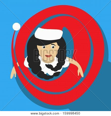 Santa Girl Christmas New Year Vector Illustration Of A Top View With  Long Kalpaka Cap Simple Image
