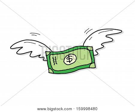 Flying Money Dollar Inflation. A hand drawn vector cartoon illustration of a money with wings soaring up high.