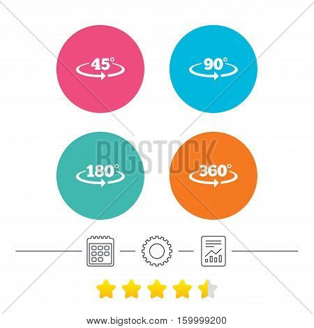 Angle 45-360 degrees icons. Geometry math signs symbols. Full complete rotation arrow. Calendar, cogwheel and report linear icons. Star vote ranking. Vector
