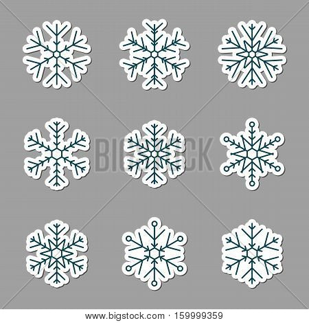 Vector collection of snowflakes icons. Icons on a grey background
