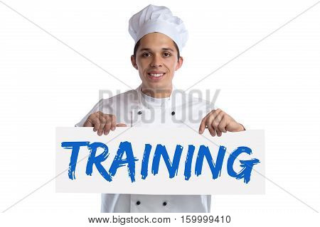 Training cook apprentice trainee cooking job isolated on a white background