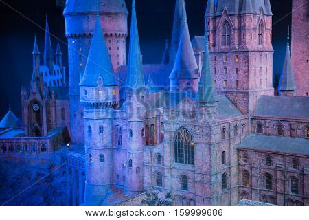 Leavesden, London, UK - 1 March 2016: Hogwarts School of Witchcraft and Wizardry, model against of black background