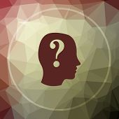 Quiz icon. Quiz website button on khaki low poly background. poster