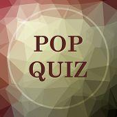 Pop quiz icon. Pop quiz website button on khaki low poly background. poster