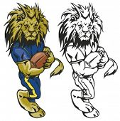 Lion Football Mascot. Great for t-shirt designs, school mascot logo and any other design work. Ready for vinyl cutting. poster