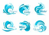 Waves vector isolated icons. Ocean water wave blue symbols in form of splashes, tide water rollers, stormy curling sea waves, foamy stormy curls, wavy flows with surfing gales poster