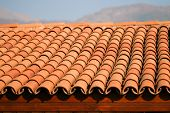 Red clay roof tiles. Built. Detail . poster
