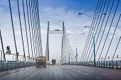 Vidyasagar Setu (Bridge) over river Ganges known as 2nd Hooghly Bridge in KolkataWest BengalIndia. Connects Howrah and Kolkata two big cities of West Bengal. Longest Cable - stayed bridge in India. poster