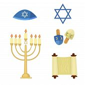 Judaism church traditional symbols jewish hanukkah set. Various jewish symbols and items hanukkah celebration flat icons vector. Jewish hanukkah church traditional religious. poster