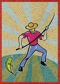 poster illustration of a fisherman fishing catching fish with rod with sunburst in background poster