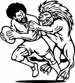 illustration of a Rugby player running with ball attack by lion done in black and white poster