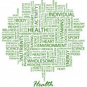 HEALTH. Word collage on white background. Vector illustration. Illustration with different association terms. poster