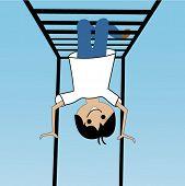 cartoon kid on monkey bars poster