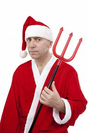 Santa Claus with trident on white background