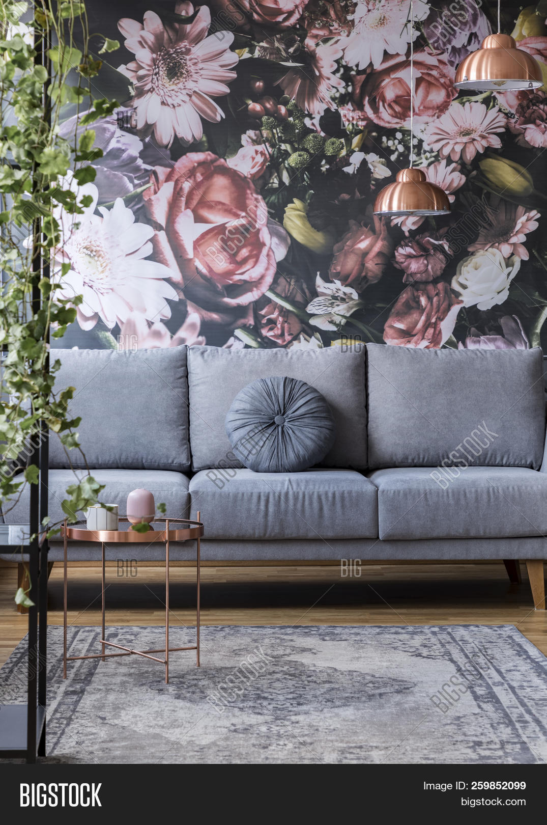 Flower Print Grey Sofa Image Photo