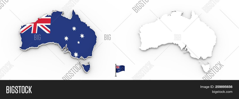 Free 3d Map Of Australia.3d Map Australia White Image Photo Free Trial Bigstock