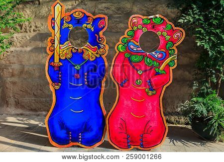 Pink And Blue Chinese Lion Or Foo Dog, Bixie, Pixiu Standee Photo Props Set For The Mooncake Festiva