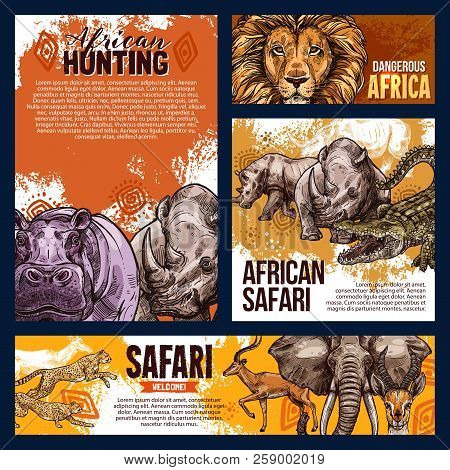 African Safari Hunting Sketch Banners And Posters For Open Season Or Hunt Adventure. Vector Wild Ani