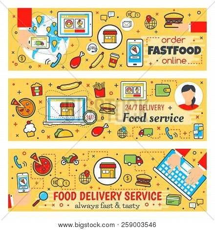 Fast Food Online Delivery Banners, Fastfood Cafe, Restaurant Or Bistro. Vector Thin Line Design Of C
