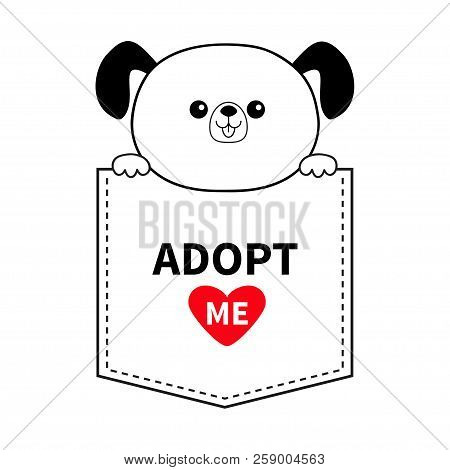 poster of Adopt me. Dog in the pocket. Holding paws. Red heart. Cute cartoon animals. Puppy pooch character. Dash line. Pet animal collection. T-shirt design. Baby background. Flat design Vector illustration