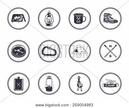Set Of 12 Camping Silhouette Icons And Symbols. Hiking Equipment Elements - Tent, Boot, Lantern, Com