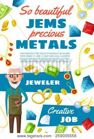 Jeweler Profession, Man Expert In Jewelry And Gemstones. Vector Cartoon Gems, Golden Rings And Bijou