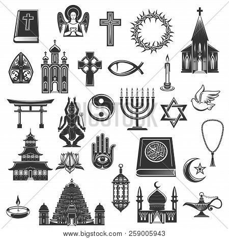 World Religions Symbols And Religious Signs. Vector Christianity Crucifix Cross And Orthodox Or Cath
