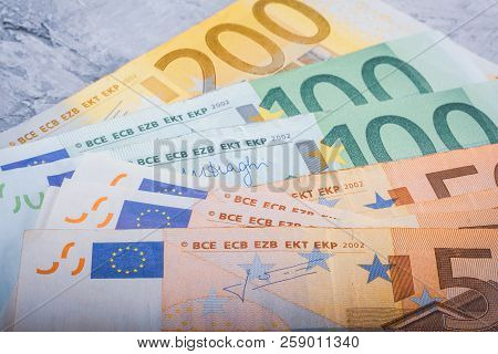 Euro Banknotes Close-up Hundred, Two Hundred And Fifty