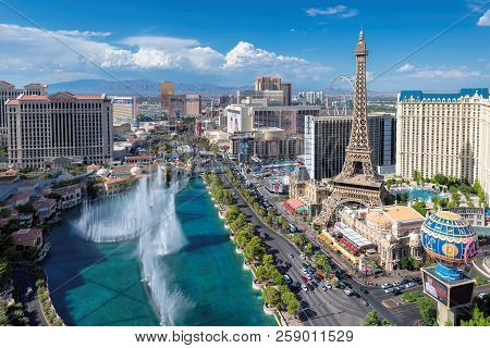 World Famous Vegas Strip At Sunny Summer Day On July 26, 2018 In Las Vegas, Usa. The Strip Is Home T