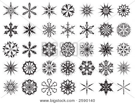 Different Snowflakes Vector Patterns