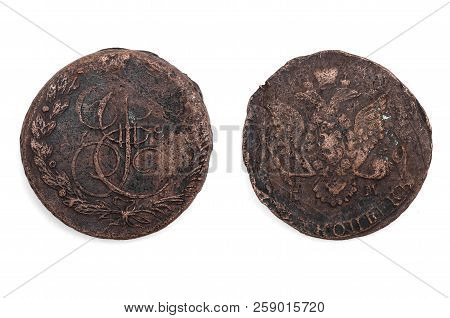 Old 5 Kopeks 1780 Year Of Russian Empire Isolated On White Background.
