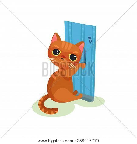 Naughty kitten scratching wallpaper, mischievous cute little cat vector Illustration on a white background poster