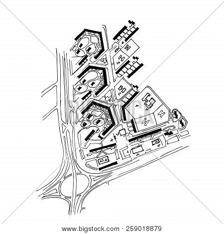 Urban Plan Of A City, Old Village. Doodle City Map. Vector City Drawing. Street Map. Futuristic Mega
